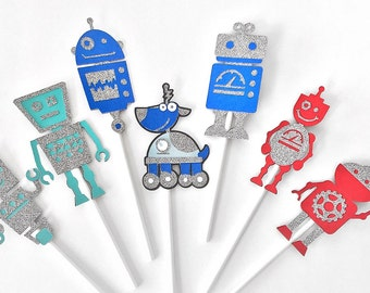 Robot Cupcake Toppers - Robot Party - Robot Toppers - Robot Birthday - Robot Centerpieces