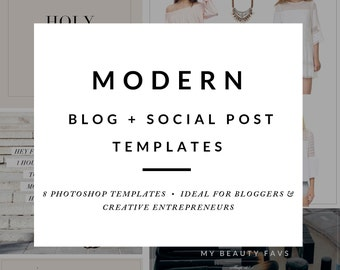 Modern Blog Post Template Package, Blog Post Graphics + Social Media Graphics, Photoshop Templates - INSTANT DOWNLOAD
