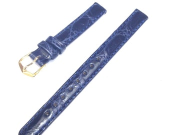 Tiffany&Co.Austria Dark Blue Crocodile 10/12/13mm Short/Regular/Large Watch Band
