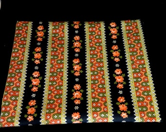 Orange and Black Cotton Folk Art Fabric Yardage