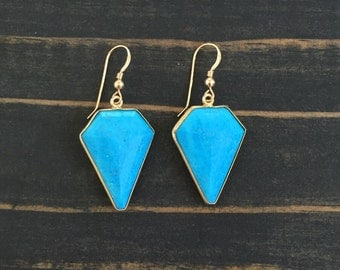 Turquoise and Gold Shield Earrings, Bezeled Turquoise Earrings, Turquoise Shield Earrings, gemstone earrings, turquoise, Bohemian Earring