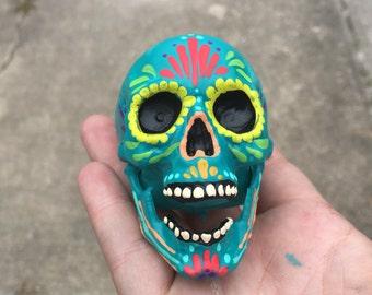 Day of the Dead - Painted small sugar skull - skull sculpture - custom made - Dia de los Muertos - hand painted -  mini skull - Halloween