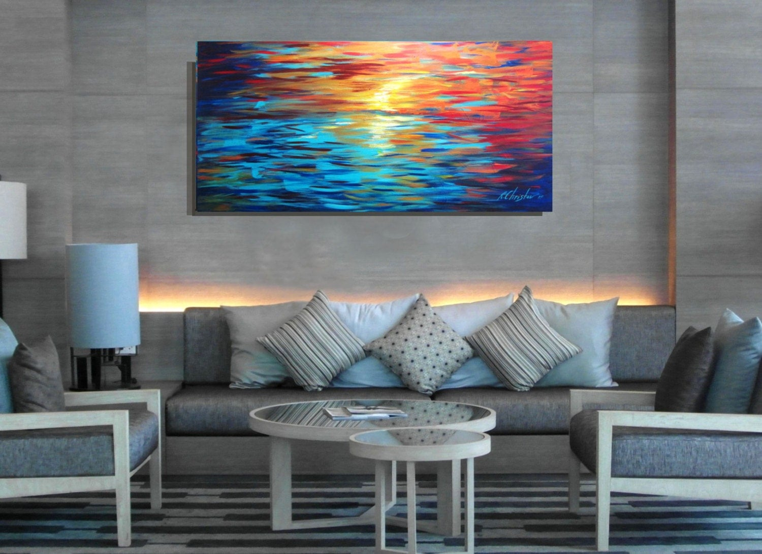 Large Abstract Painting Wall Decor Art Blue Red Orange