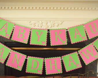 Butterfly Themed Pink and Green Baby Shower Banner