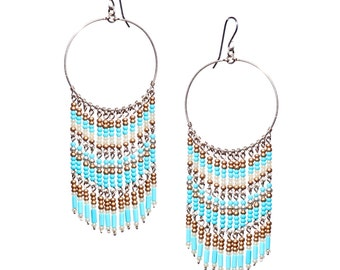 Bohemian Hoop Earrings //Dreamcatcher Earrings //Turquoise Chandelier Earrings//