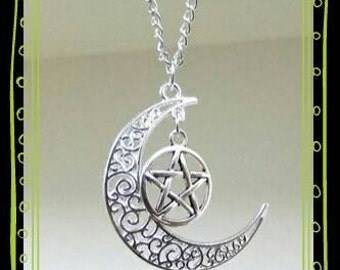 Pentacle in the moon charm necklace