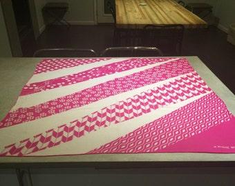 Hanae Mori Pink Purple White Silk Scarf Hand Rolled Butterflies Pappilon