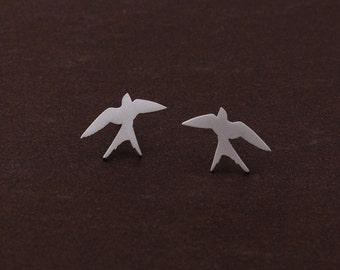 Matt silver plated tiny Swallow earrings, 925 sterling silver EarStud,  swallows bird earrings, sterling silver post earrings