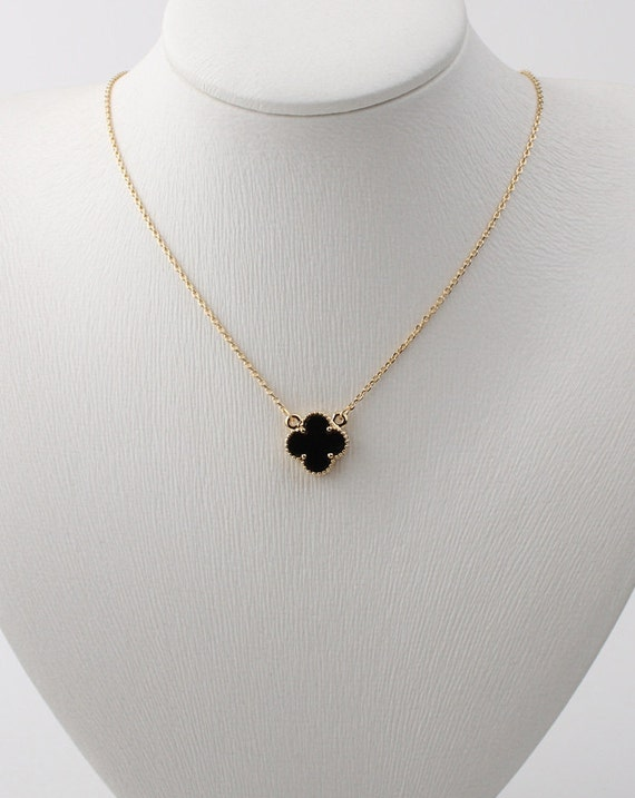 lovely 12mm black onyx four leaf clover necklace by