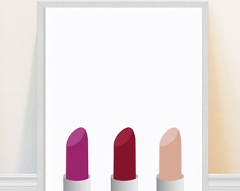 Lipstick print - Makeup Art Print-  Bathroom Art - Fashion Print - Minimalist Lipstick Art - Powder Room Decor
