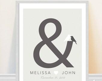 Wedding Print - Personalized Wedding Date Art Print - Ampersand Art - Love Birds - Custom Wedding Gift