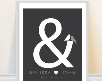 Wedding Print - Personalized Wedding Date Art Print - Ampersand Art - Love Birds - Custom Wedding Gift