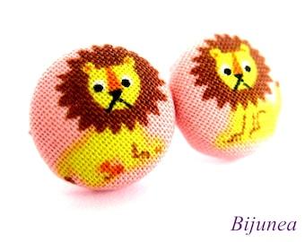 Lion earrings - Orange Lion earrings - Lion studs - Lion posts - Lion stud earrings - Lion post earrings sf756
