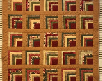 Log Cabin Flannel Throw