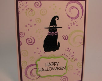 Stampin' Up! Witchy Black Cat Halloween Card