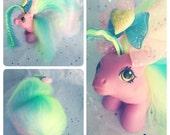 Vintage 80s Hasbro My Little Pony Newborn Baby Tappy Perfume Puff Rehair
