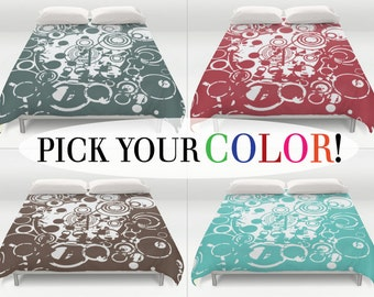 Grunge Bedding, Duvet Cover, King Queen Full Twin, Size, Abstract Bed Cover, Circle Pattern Comforter, Bubbles Duvet Cover, Double Size