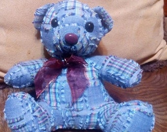 Teddy Bear...Blue Patch Work Quilt Like Materal..Never Used..In Great Condition