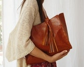 Brown leather tote, leather laptop bag, large shoulder bag, brown leather bag, leather tote, everyday carry, brown leather purse