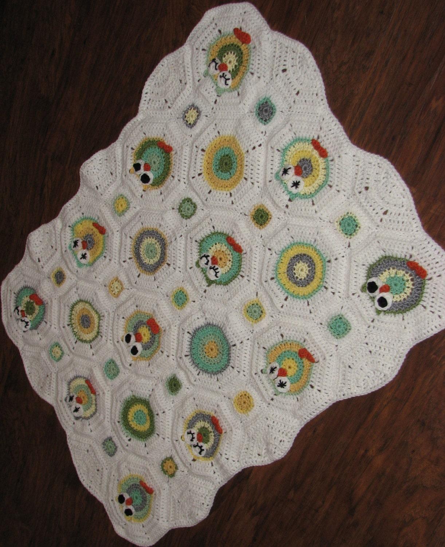 Octagon Baby Afghan Crochet Pattern : CROCHET PATTERN Owl Octagon Granny Afghan Pattern / Crochet