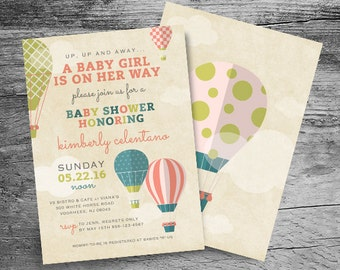 Hot Air Balloon Baby Shower Invitation - Up Up and Away Baby Shower Invitation - Girl OR Boy Baby Shower Invite - Printable Invitation - 5x7
