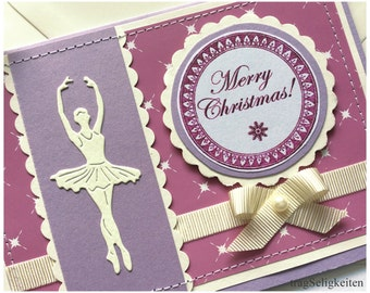 Ballet Christmas card, ballerina Xmas card, blank inside, purple ballet card, greeting card for dancers, purple and cream, dance stationery