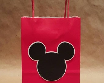 Mickey inspired,red party favor bags, set of 12 per order