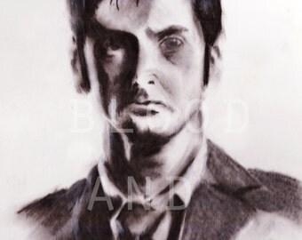 Dr. Who portrait - 8 x 10 print  - tv - bbc - whovian - david tennant - science-fiction - sci-fi - tardis  - time lord - timetravel