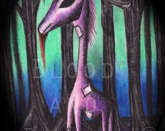 Dark Evil Unicorn portrait - 8 x 10 art print  - fantasy - creature - forest - magic - myth - legend - monster - halloween
