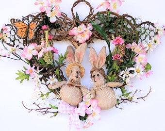 Handmade Spring Summer WREATH ~Burlap He & She Bunnies~Blossom Branches~Silk Flowers~Foliage~Grapevine~Natural~Pink~Heart~Daisies~Burlap~Bow