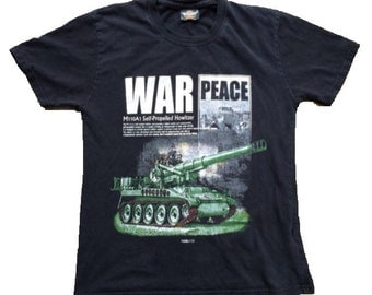 Vintage 90s ARMY tank shirt war peace adult small