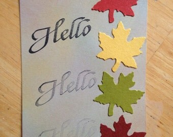 Hello, maple leaf gift tag