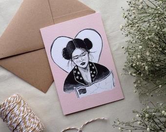 Lolita heart A6 card