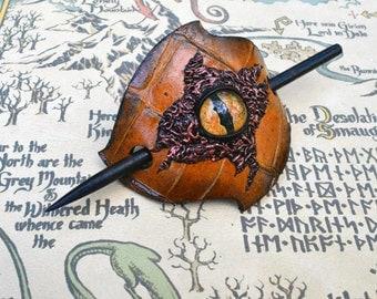 Dragon Eye Leather Barrette - Brown Barrette with Wood Stick - Hair barrette