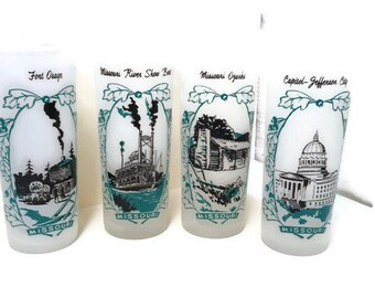 Set of 4 Vintage, Frosted Missouri Souvenir Drinking Glasses; Barware; Tall Highball Glasses