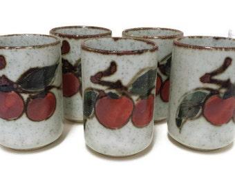 Cute Set of Five (5) Vintage Stoneware Juice Glasses with Apple 0r Cherry Decor