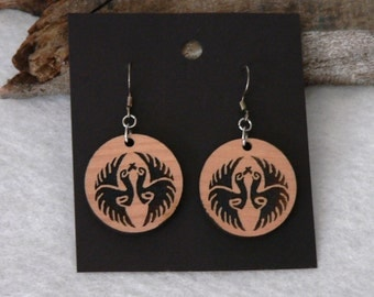 Asian Crane Engraved Wooden Earrings