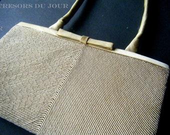 Vintage Gold Satin Evening Bag 1960s Satin Evening Bag Retro Gold Bag Retro Evening Bag Beige Satin Cord Textured Hand Bag