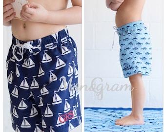 Boys Swim Trunks/ Monogeammed Swim Trunks/ Petsonalized Swimsuit