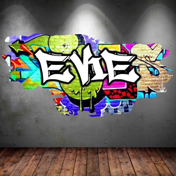 personalised graffiti name wall decals full colour wall art. Black Bedroom Furniture Sets. Home Design Ideas