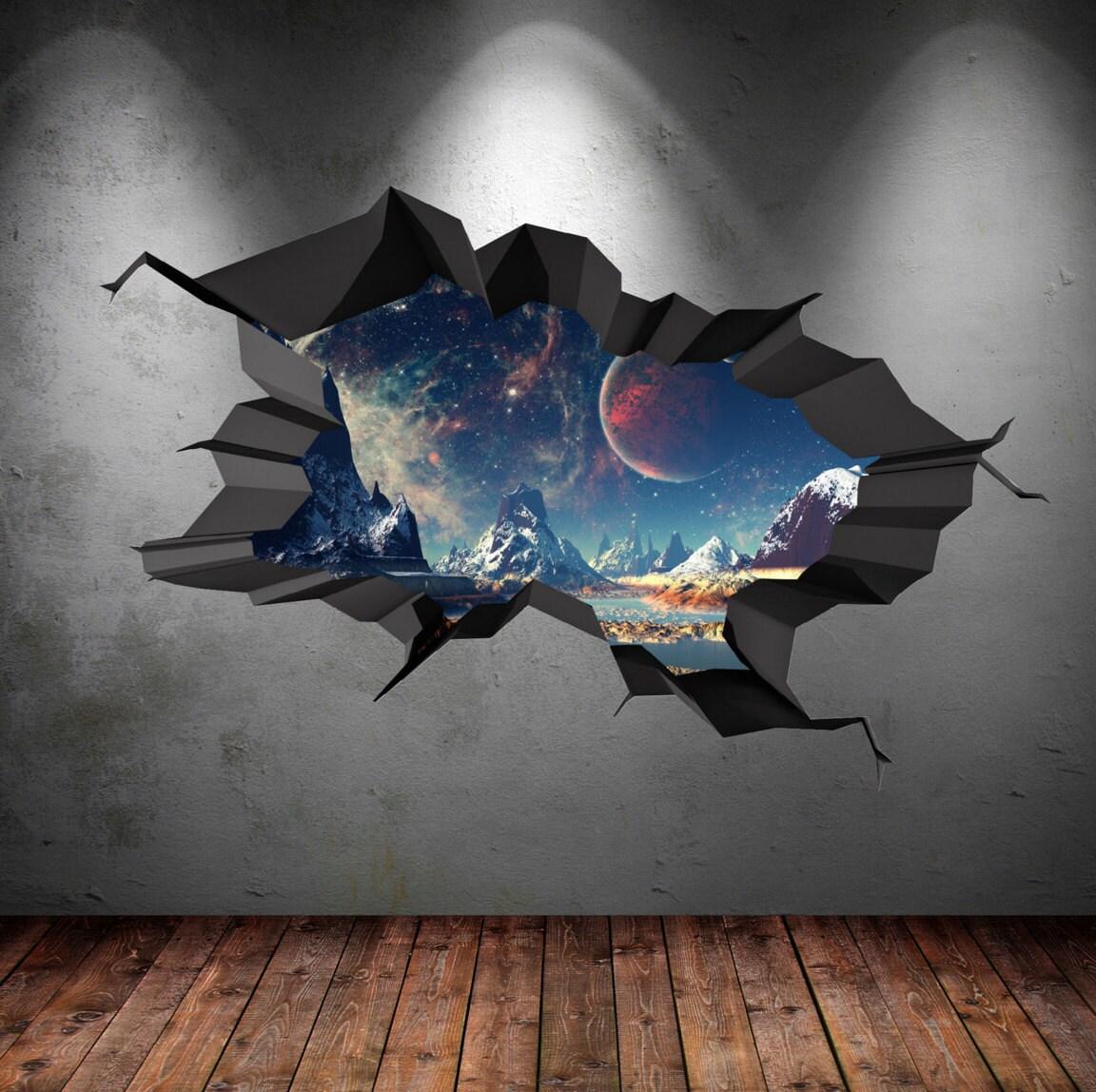 Couleur mur autocollant Terre espace planu00e8te galaxie univers