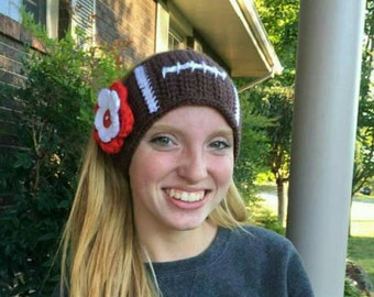 Crochet Football Headband Ear Warmer Custom Colors