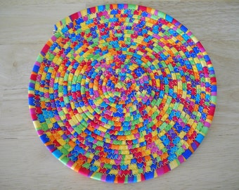 "Trivet//Round trivet//Coiled fabric trivet/ Round//Round potholder//Bright striped trivet//8"" round coiled fabric trivet//Candle mat"