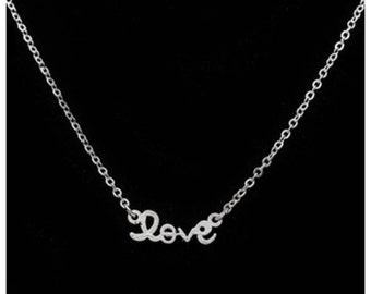Silver love dainty necklace, charm necklace, tiny necklace, everyday necklace, delicate necklace, love necklace.