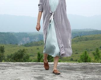 SALE gray versatile pleuche silk velvet long coat  BonLife