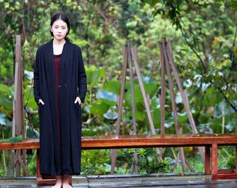 black textured trech coat Linen coat jackets  BonLife