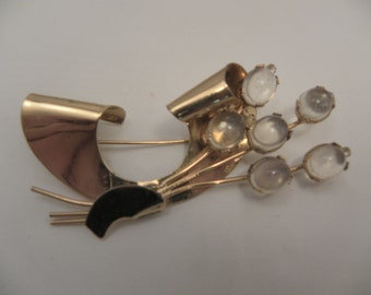 Signed Coro Pegasus Sterling Vintage Clear Glass Jelly Belly Bouquet Brooch