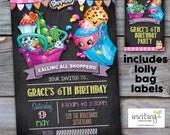 Shopkins Birthday Party Invite Invitation **FREE Lolly bag labels 4x6 or 5x7