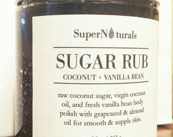 Vanilla Sugar Rub. Body Polish. Sugar Scrub. Cocoa. Coconut Oil. Smooth Skin. Exfoliant. Rids Ingrown Hair. Total Body. Men & Women.