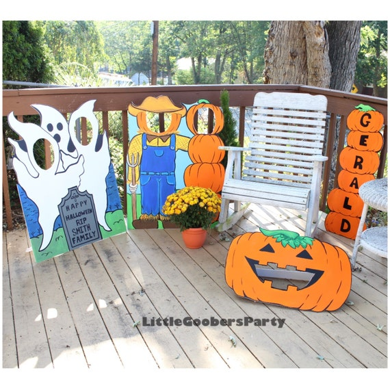 halloween display board ghosts personalized fall face in hole cutout outdoor decoration photo op - Face In Hole Halloween